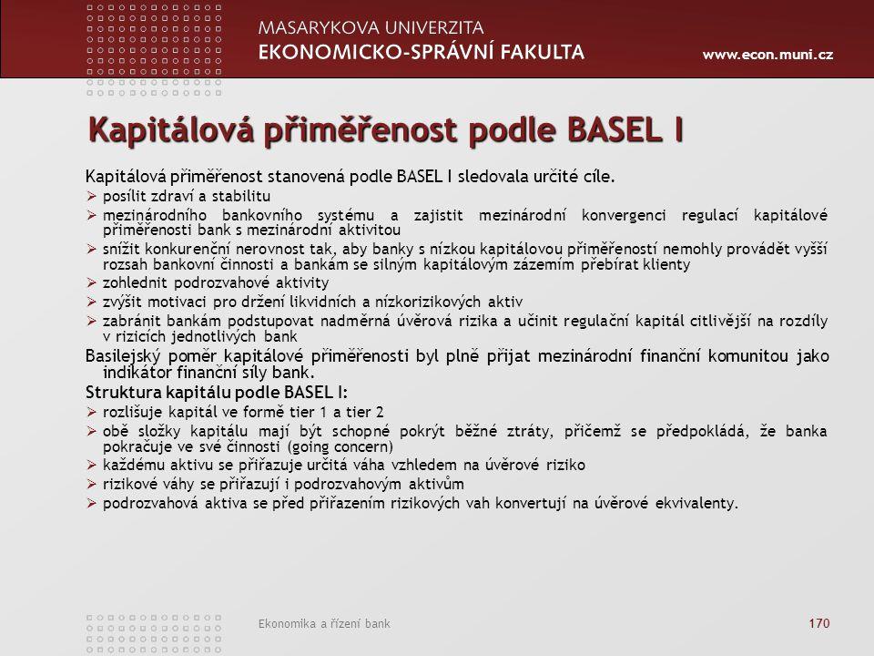 www.econ.muni.cz Ekonomika a řízení bank 170 Kapitálová přiměřenost podle BASEL I Kapitálová přiměřenost stanovená podle BASEL I sledovala určité cíle