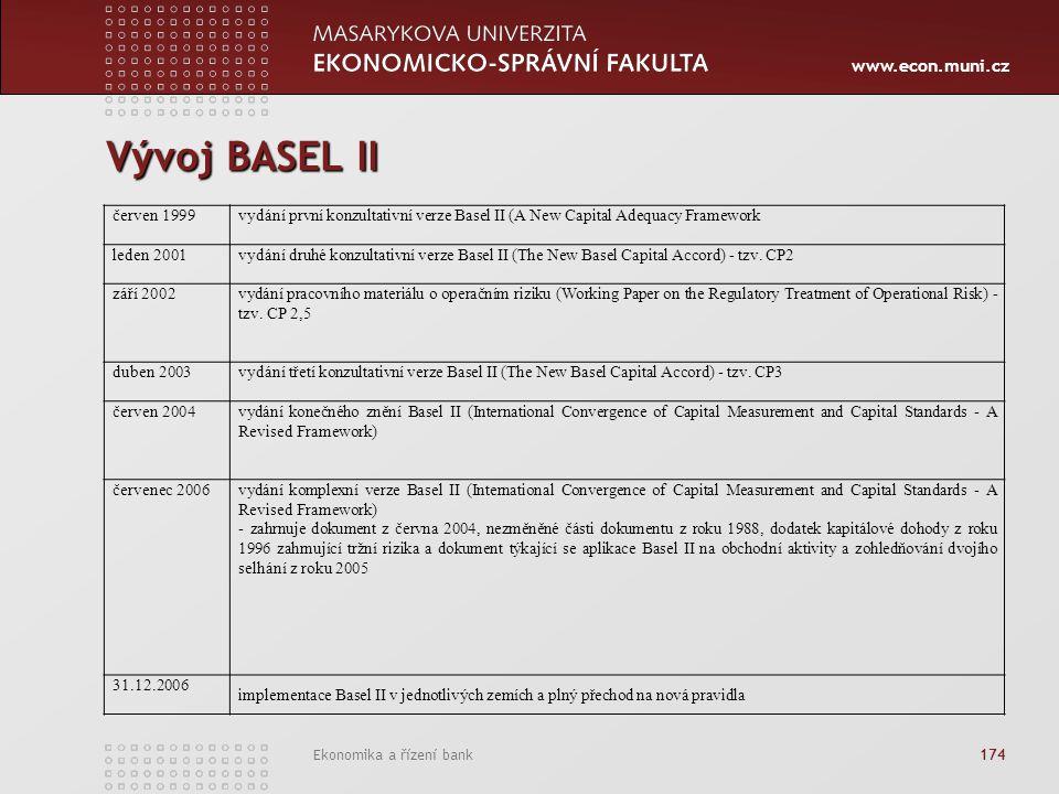 www.econ.muni.cz Ekonomika a řízení bank 174 Vývoj BASEL II červen 1999vydání první konzultativní verze Basel II (A New Capital Adequacy Framework leden 2001vydání druhé konzultativní verze Basel II (The New Basel Capital Accord) - tzv.