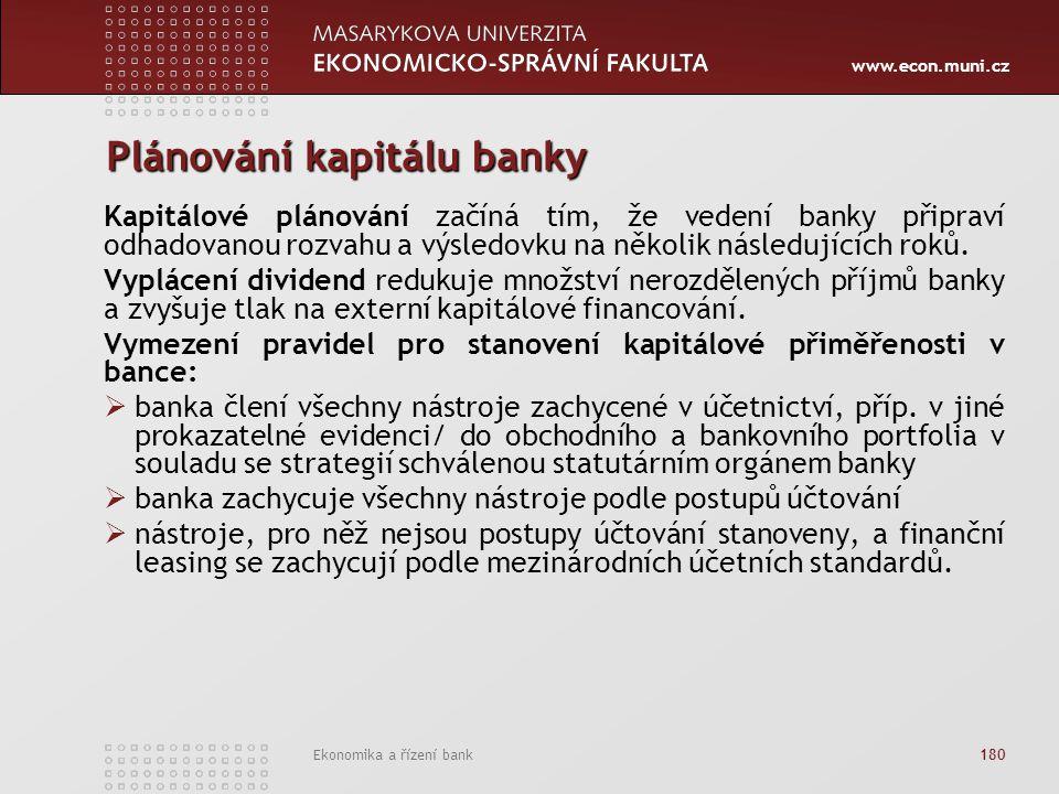 www.econ.muni.cz Ekonomika a řízení bank 180 Plánování kapitálu banky Kapitálové plánování začíná tím, že vedení banky připraví odhadovanou rozvahu a výsledovku na několik následujících roků.