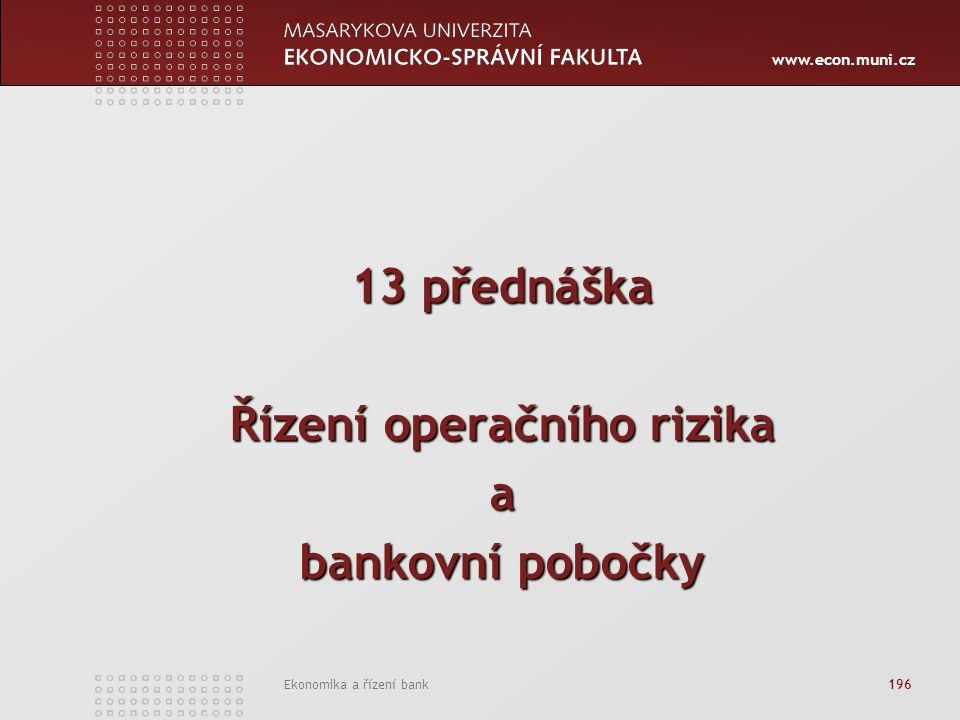 www.econ.muni.cz Ekonomika a řízení bank 196 13 přednáška Řízení operačního rizika a bankovní pobočky