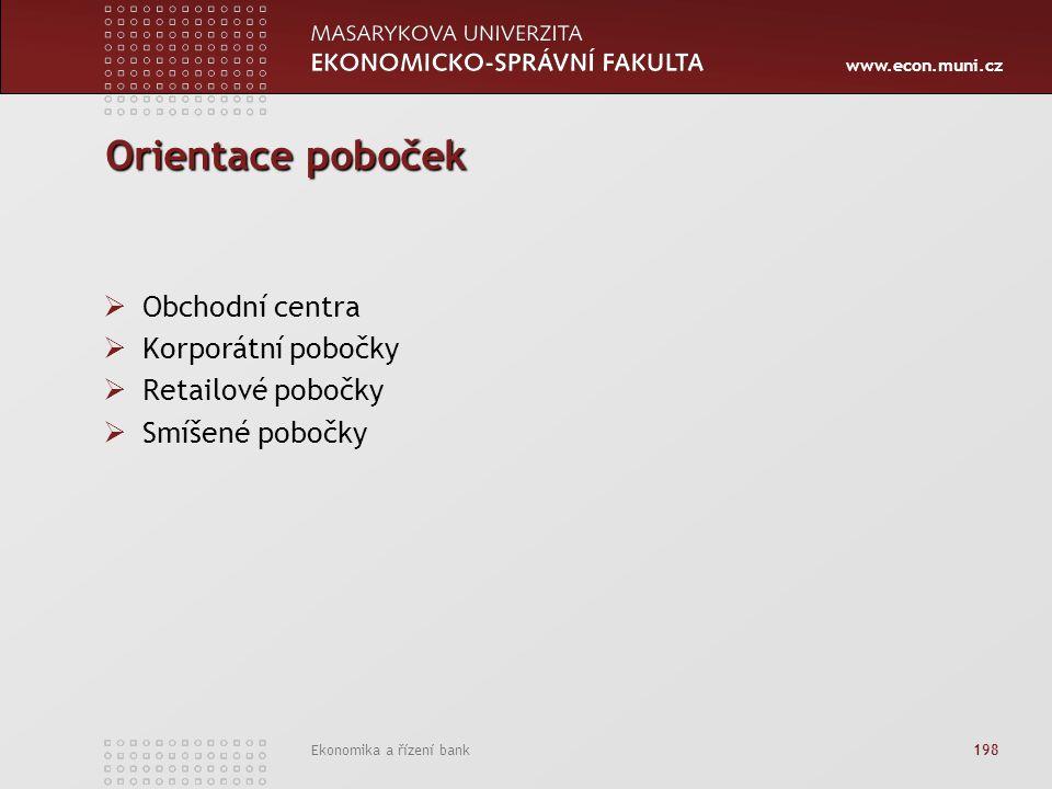 www.econ.muni.cz Ekonomika a řízení bank 198 Orientace poboček  Obchodní centra  Korporátní pobočky  Retailové pobočky  Smíšené pobočky