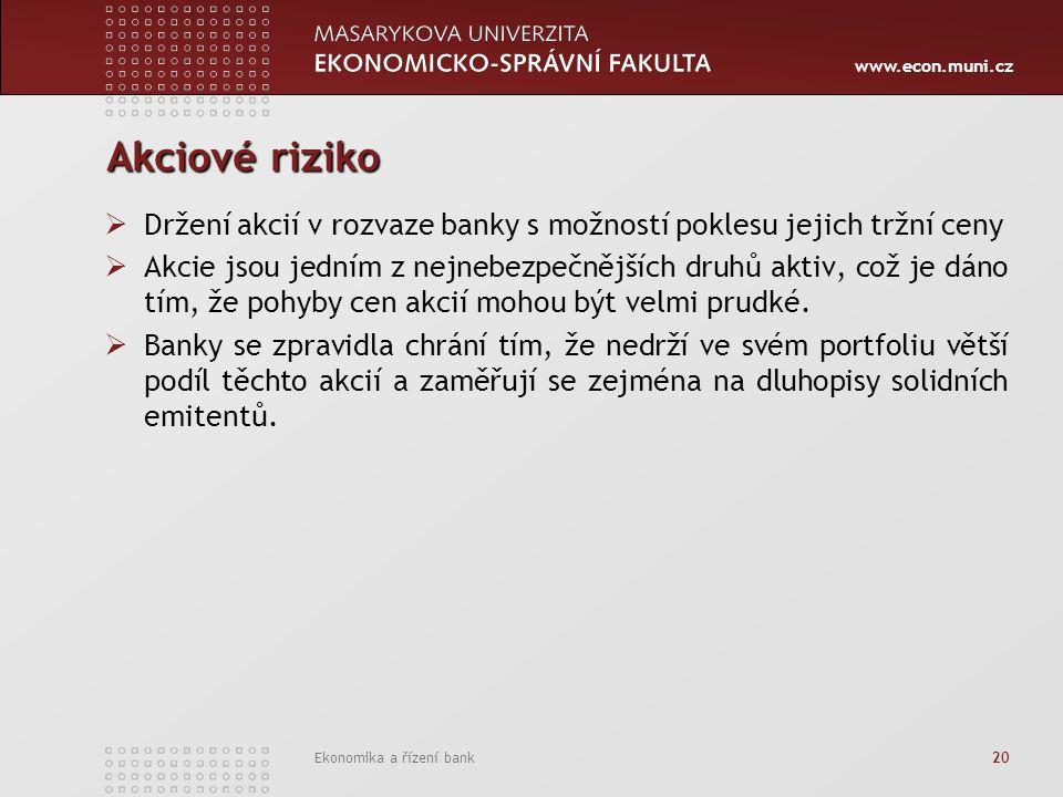 www.econ.muni.cz Ekonomika a řízení bank 20 Akciové riziko  Držení akcií v rozvaze banky s možností poklesu jejich tržní ceny  Akcie jsou jedním z nejnebezpečnějších druhů aktiv, což je dáno tím, že pohyby cen akcií mohou být velmi prudké.