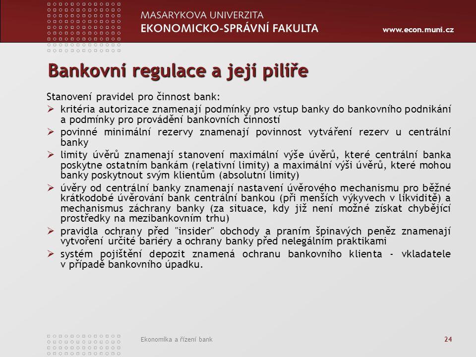 www.econ.muni.cz Ekonomika a řízení bank 24 Bankovní regulace a její pilíře Stanovení pravidel pro činnost bank:  kritéria autorizace znamenají podmí
