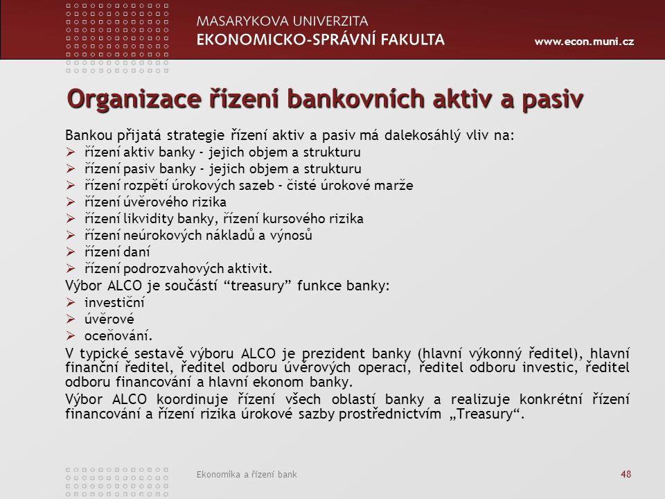 www.econ.muni.cz Ekonomika a řízení bank 48 Organizace řízení bankovních aktiv a pasiv Bankou přijatá strategie řízení aktiv a pasiv má dalekosáhlý vl