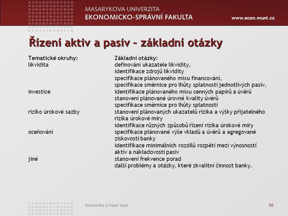 www.econ.muni.cz Ekonomika a řízení bank 50 Řízení aktiv a pasiv – základní otázky Tematické okruhy: Základní otázky: likvidita definování ukazatele l