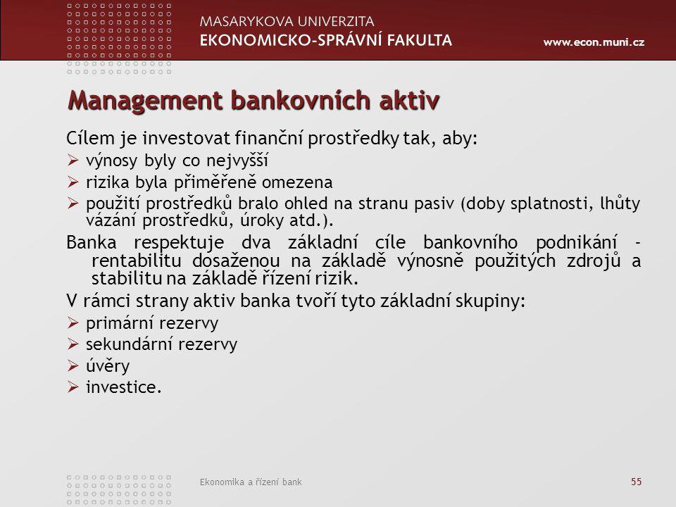 www.econ.muni.cz Ekonomika a řízení bank 55 Management bankovních aktiv Cílem je investovat finanční prostředky tak, aby:  výnosy byly co nejvyšší  rizika byla přiměřeně omezena  použití prostředků bralo ohled na stranu pasiv (doby splatnosti, lhůty vázání prostředků, úroky atd.).