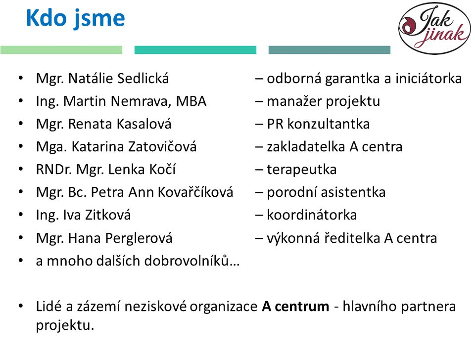 Kdo jsme Mgr.Natálie Sedlická – odborná garantka a iniciátorka Ing.
