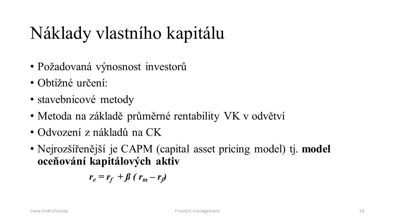 Irena JindrichovskaFinanční management14 Náklady vlastního kapitálu Požadovaná výnosnost investorů Obtížné určení: stavebnicové metody Metoda na základě průměrné rentability VK v odvětví Odvození z nákladů na CK Nejrozšířenější je CAPM (capital asset pricing model) tj.