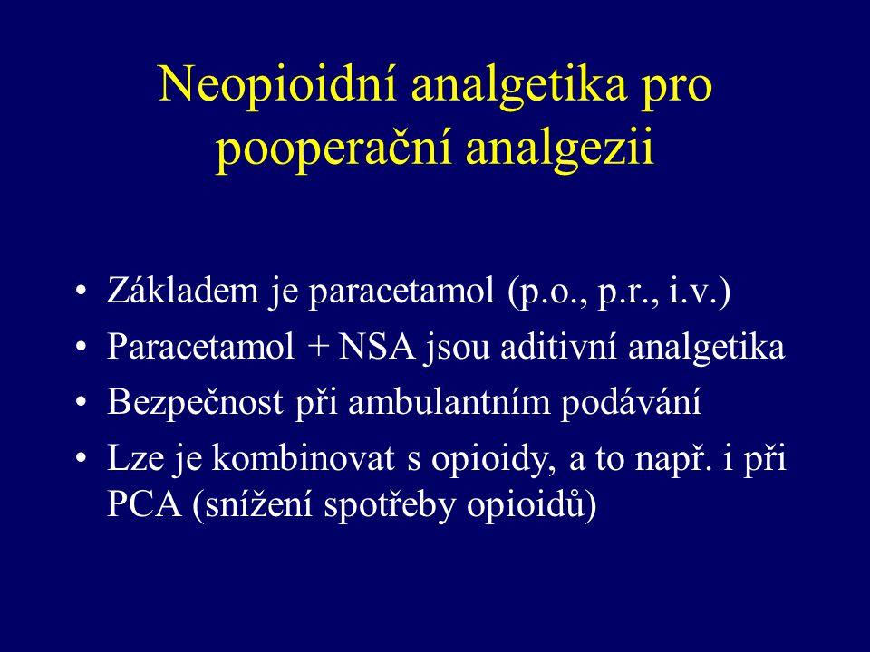 Neopioidní analgetika pro pooperační analgezii Základem je paracetamol (p.o., p.r., i.v.) Paracetamol + NSA jsou aditivní analgetika Bezpečnost při am