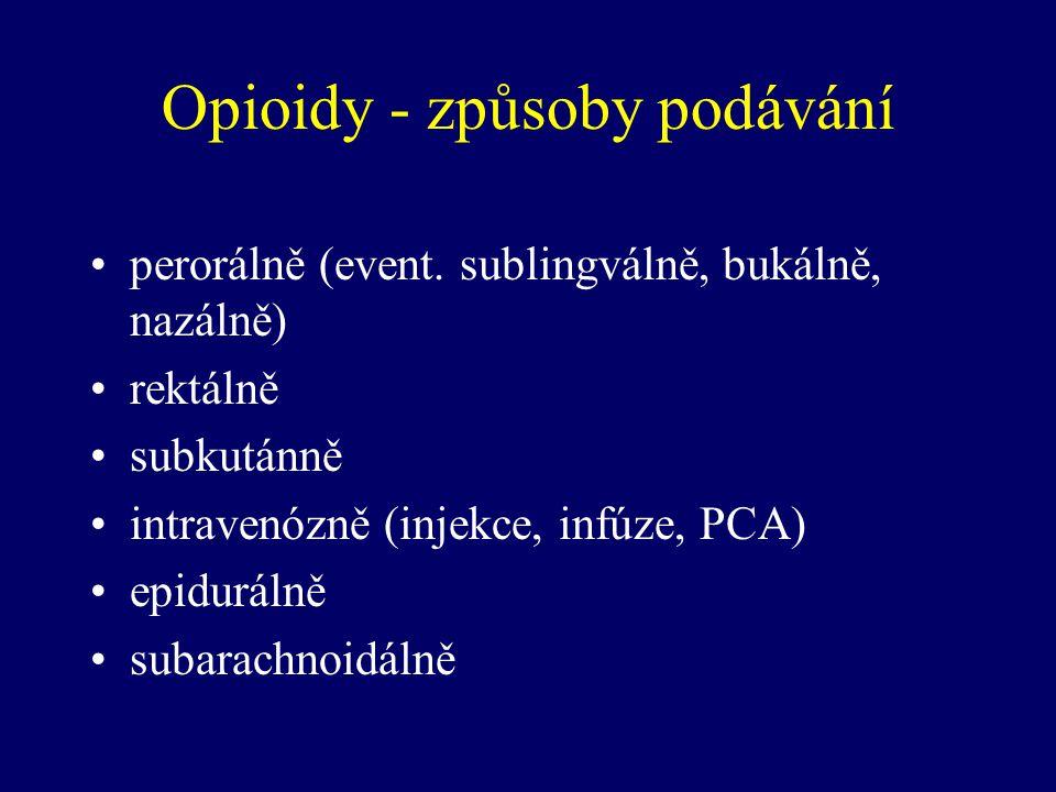 Opioidy - způsoby podávání perorálně (event. sublingválně, bukálně, nazálně) rektálně subkutánně intravenózně (injekce, infúze, PCA) epidurálně subara