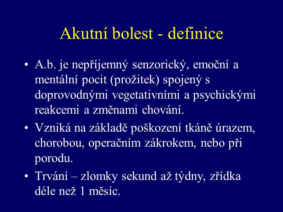 Akutní bolest - definice A.b. je nepříjemný senzorický, emoční a mentální pocit (prožitek) spojený s doprovodnými vegetativními a psychickými reakcemi