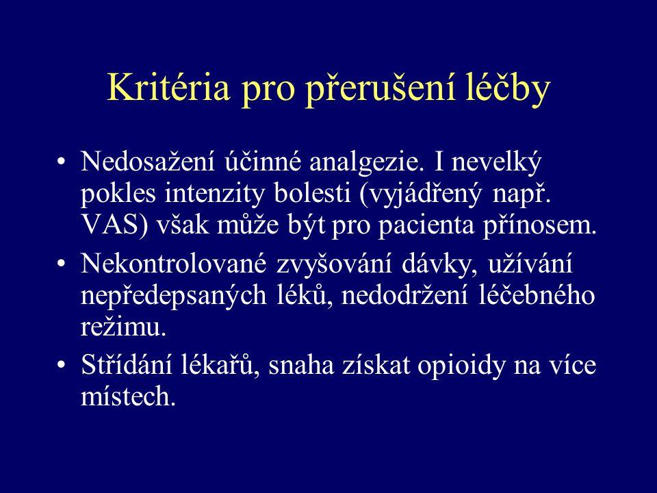 Kritéria pro přerušení léčby Nedosažení účinné analgezie. I nevelký pokles intenzity bolesti (vyjádřený např. VAS) však může být pro pacienta přínosem