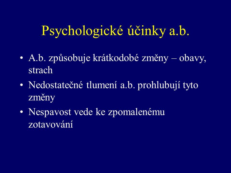 Psychologické účinky a.b. A.b. způsobuje krátkodobé změny – obavy, strach Nedostatečné tlumení a.b. prohlubují tyto změny Nespavost vede ke zpomaleném