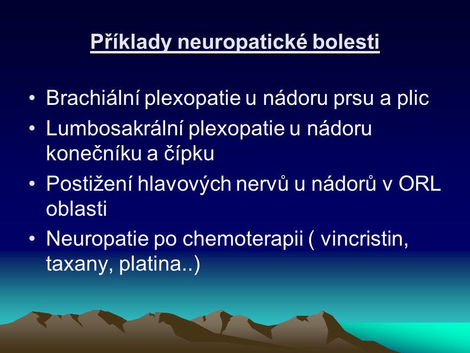 Příklady neuropatické bolesti Brachiální plexopatie u nádoru prsu a plic Lumbosakrální plexopatie u nádoru konečníku a čípku Postižení hlavových nervů