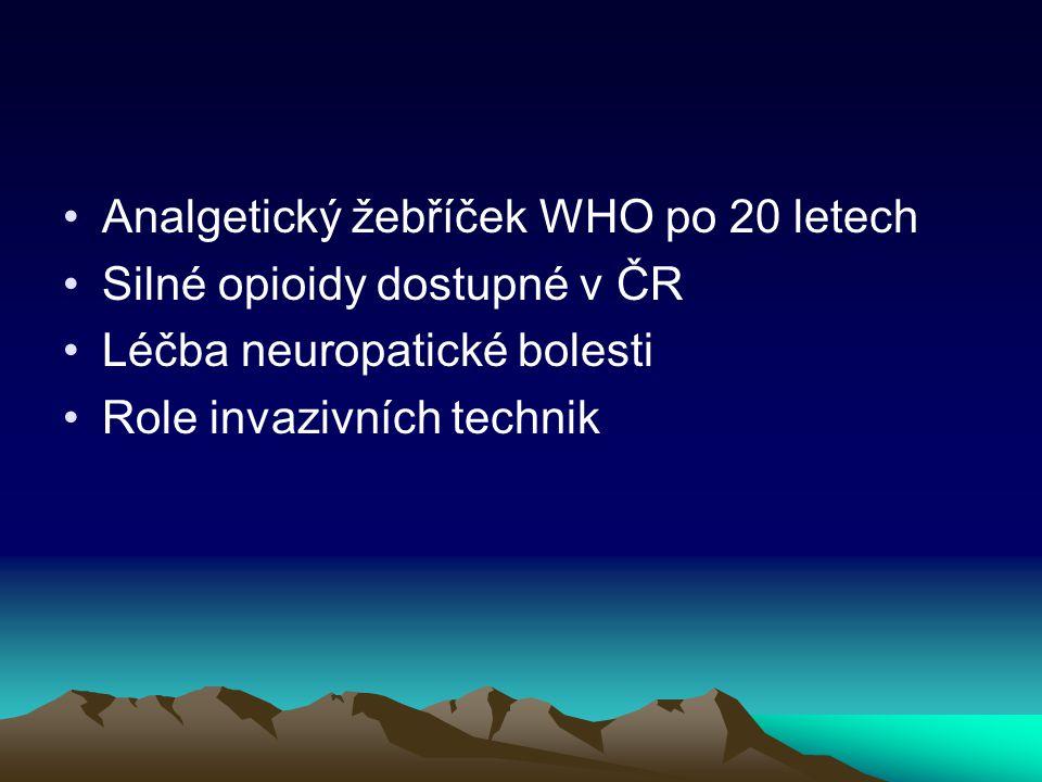 Analgetický žebříček WHO po 20 letech Silné opioidy dostupné v ČR Léčba neuropatické bolesti Role invazivních technik