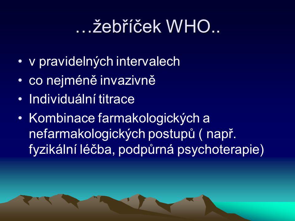 …žebříček WHO.. v pravidelných intervalech co nejméně invazivně Individuální titrace Kombinace farmakologických a nefarmakologických postupů ( např. f