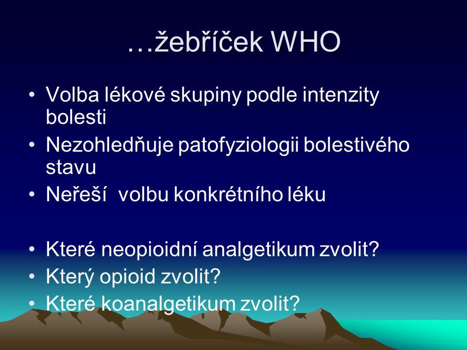 …žebříček WHO Volba lékové skupiny podle intenzity bolesti Nezohledňuje patofyziologii bolestivého stavu Neřeší volbu konkrétního léku Které neopioidn