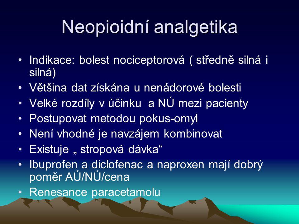 Neopioidní analgetika Indikace: bolest nociceptorová ( středně silná i silná) Většina dat získána u nenádorové bolesti Velké rozdíly v účinku a NÚ mez