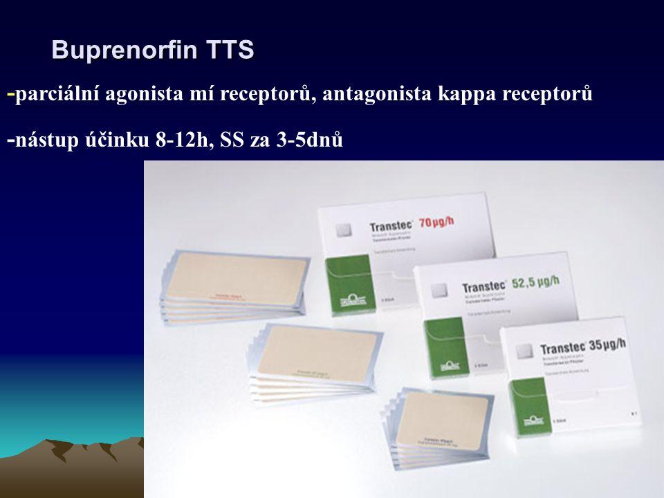 Buprenorfin TTS - parciální agonista mí receptorů, antagonista kappa receptorů - nástup účinku 8-12h, SS za 3-5dnů