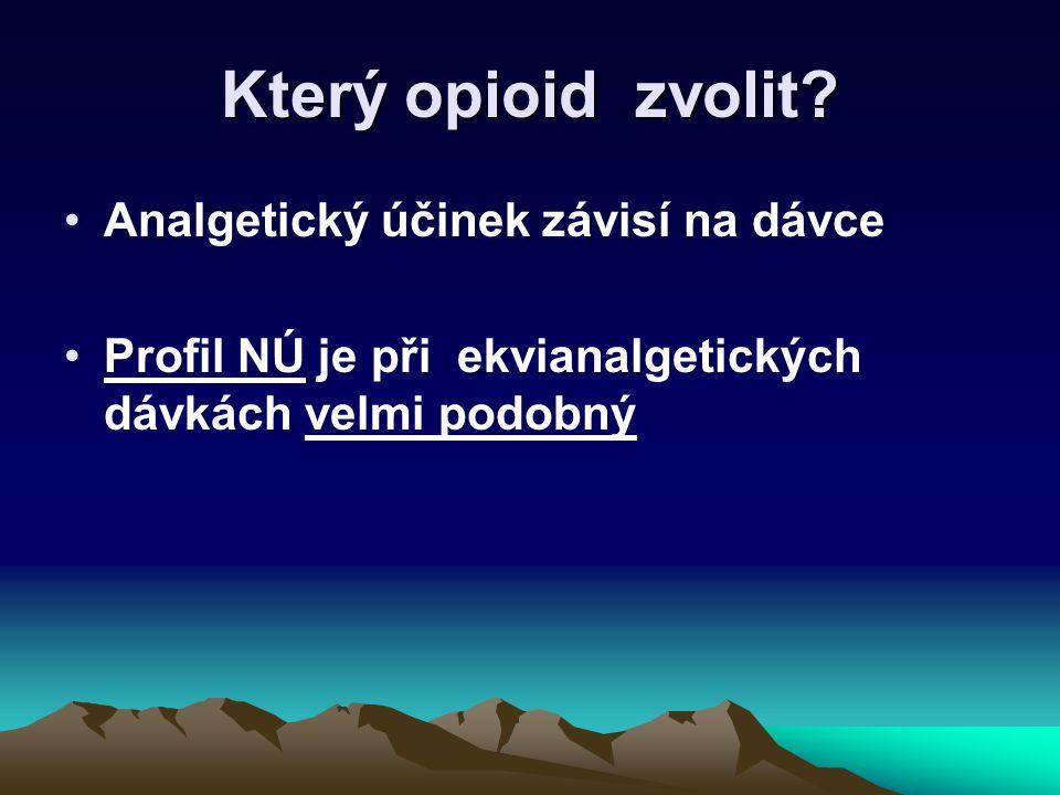 Který opioid zvolit? Analgetický účinek závisí na dávce Profil NÚ je při ekvianalgetických dávkách velmi podobný