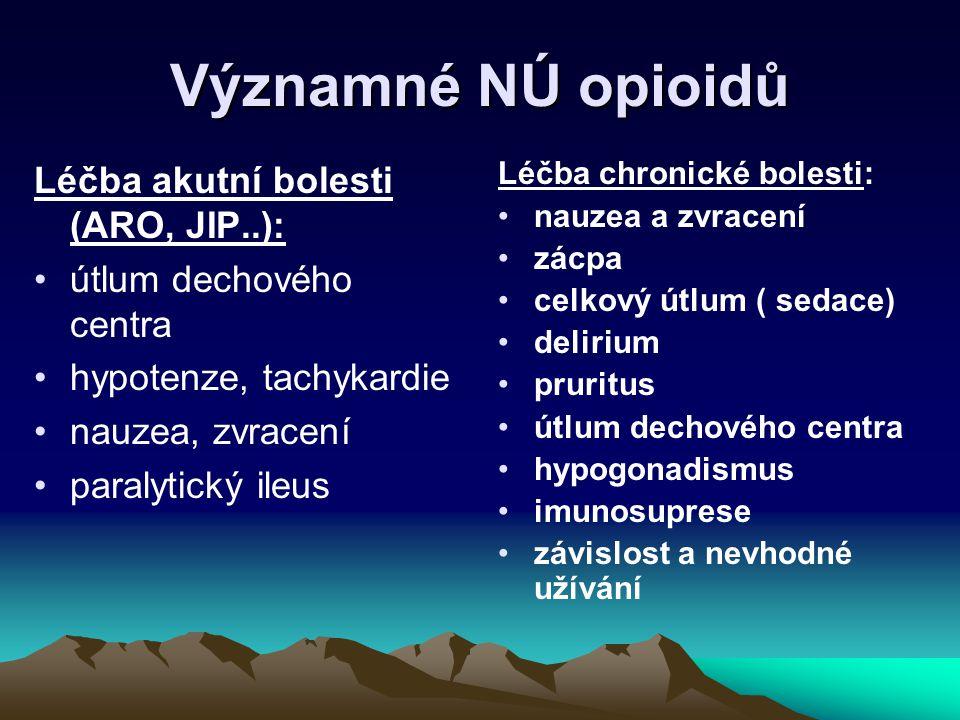Významné NÚ opioidů Léčba akutní bolesti (ARO, JIP..): útlum dechového centra hypotenze, tachykardie nauzea, zvracení paralytický ileus Léčba chronick