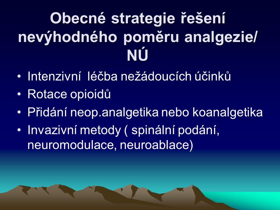 Obecné strategie řešení nevýhodného poměru analgezie/ NÚ Intenzivní léčba nežádoucích účinků Rotace opioidů Přidání neop.analgetika nebo koanalgetika