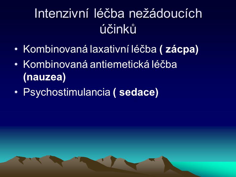 Intenzivní léčba nežádoucích účinků Kombinovaná laxativní léčba ( zácpa) Kombinovaná antiemetická léčba (nauzea) Psychostimulancia ( sedace)