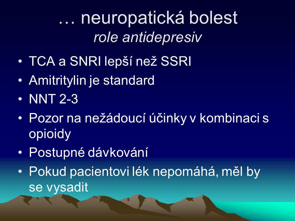 … neuropatická bolest role antidepresiv TCA a SNRI lepší než SSRI Amitritylin je standard NNT 2-3 Pozor na nežádoucí účinky v kombinaci s opioidy Post