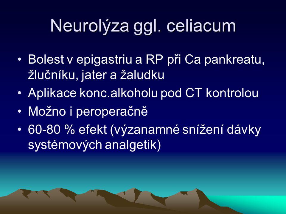 Neurolýza ggl. celiacum Bolest v epigastriu a RP při Ca pankreatu, žlučníku, jater a žaludku Aplikace konc.alkoholu pod CT kontrolou Možno i peroperač