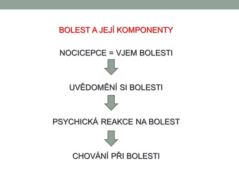FYZIOLOGIE BOLESTI Volná nervová zakončení na periferii, tzv.