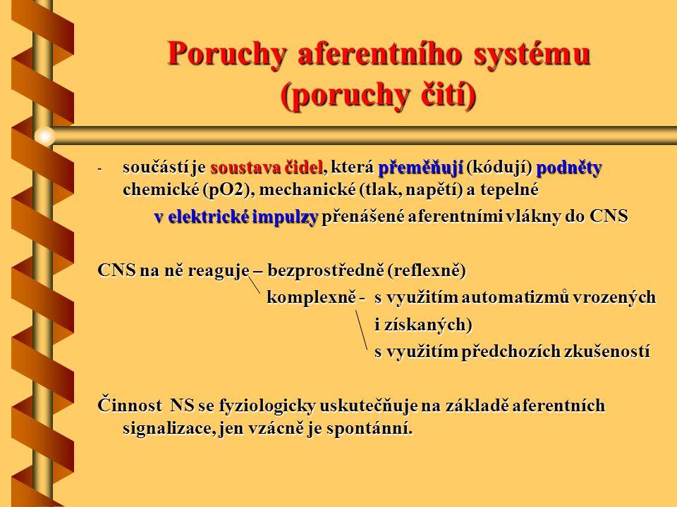 Poruchy aferentního systému (poruchy čití) - součástí je soustava čidel, která přeměňují (kódují) podněty chemické (pO2), mechanické (tlak, napětí) a