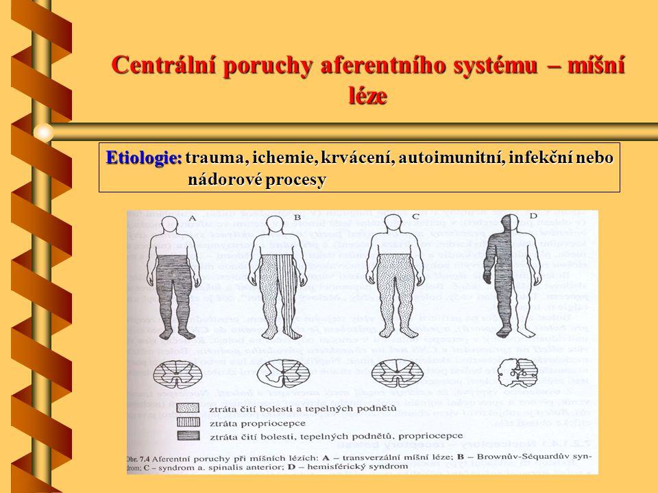 Centrální poruchy aferentního systému – míšní léze Etiologie: trauma, ichemie, krvácení, autoimunitní, infekční nebo nádorové procesy nádorové procesy