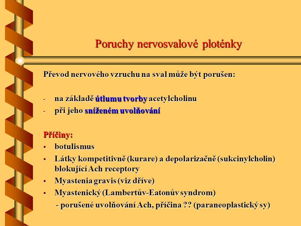 Poruchy nervosvalové ploténky Převod nervového vzruchu na sval může být porušen: - na základě útlumu tvorby acetylcholinu - při jeho sníženém uvolňová