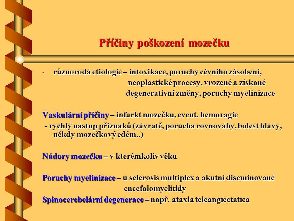 Příčiny poškození mozečku - různorodá etiologie – intoxikace, poruchy cévního zásobení, neoplastické procesy, vrozené a získané neoplastické procesy,