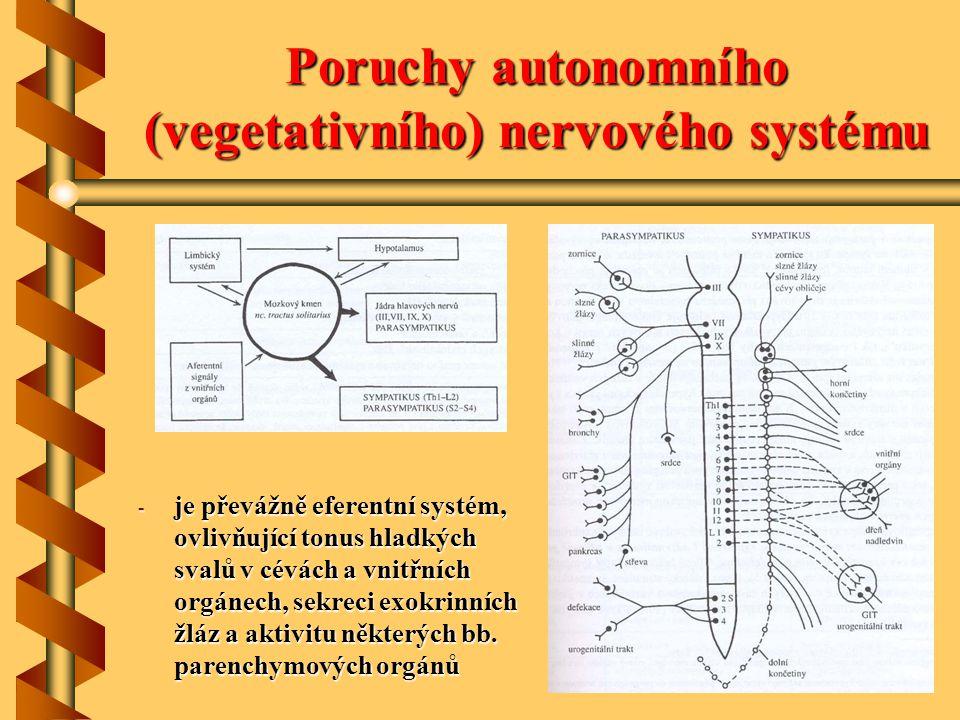 Poruchy autonomního (vegetativního) nervového systému - je převážně eferentní systém, ovlivňující tonus hladkých svalů v cévách a vnitřních orgánech,