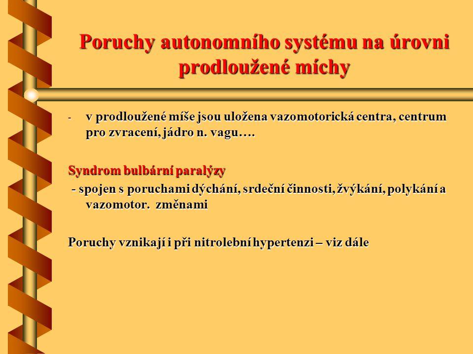 Poruchy autonomního systému na úrovni prodloužené míchy - v prodloužené míše jsou uložena vazomotorická centra, centrum pro zvracení, jádro n. vagu….
