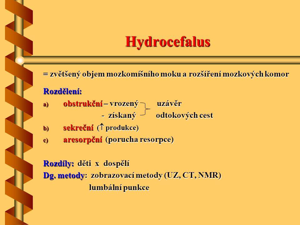 Hydrocefalus = zvětšený objem mozkomíšního moku a rozšíření mozkových komor Rozdělení: a) obstrukční – vrozený uzávěr - získaný odtokových cest - získ