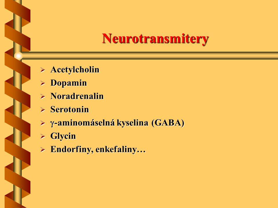Neurotransmitery  Acetylcholin  Dopamin  Noradrenalin  Serotonin   -aminomáselná kyselina (GABA)  Glycin  Endorfiny, enkefaliny…
