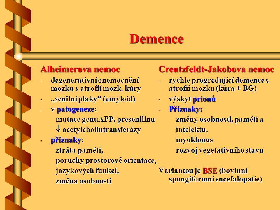 """Demence Alheimerova nemoc - degenerativní onemocnění mozku s atrofií mozk. kůry - """"senilní plaky"""" (amyloid) - v patogeneze: mutace genuAPP, presenilin"""