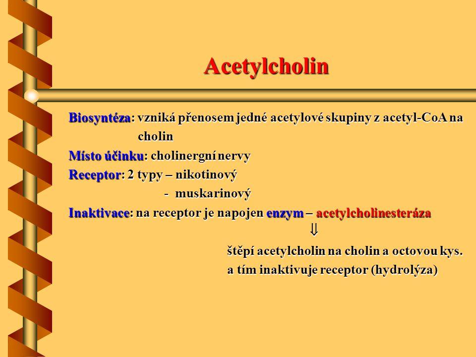 Acetylcholin Biosyntéza: vzniká přenosem jedné acetylové skupiny z acetyl-CoA na cholin cholin Místo účinku: cholinergní nervy Receptor: 2 typy – niko