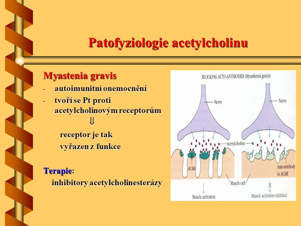 Katecholaminy Biosyntéza: hydroxylace tyrozinu na dihydroxyfenylalanin (DOPA), dekarboxylace DOPA dekarboxylasou a hydroxylace dekarboxylace DOPA dekarboxylasou a hydroxylace dopaminu na noradrenalin (methylace aminskupiny na dopaminu na noradrenalin (methylace aminskupiny na adrenalin hlavně ve dřeni nadledvin) adrenalin hlavně ve dřeni nadledvin) Místo účinku: noradrenergní nervy, účinky prostřednictvím  -adrenergních a účinky prostřednictvím  -adrenergních a  -adrenergních receptorů  -adrenergních receptorů Inaktivace: zpětná resorpce (a poté odbourání na aldehyd a NH 3 )