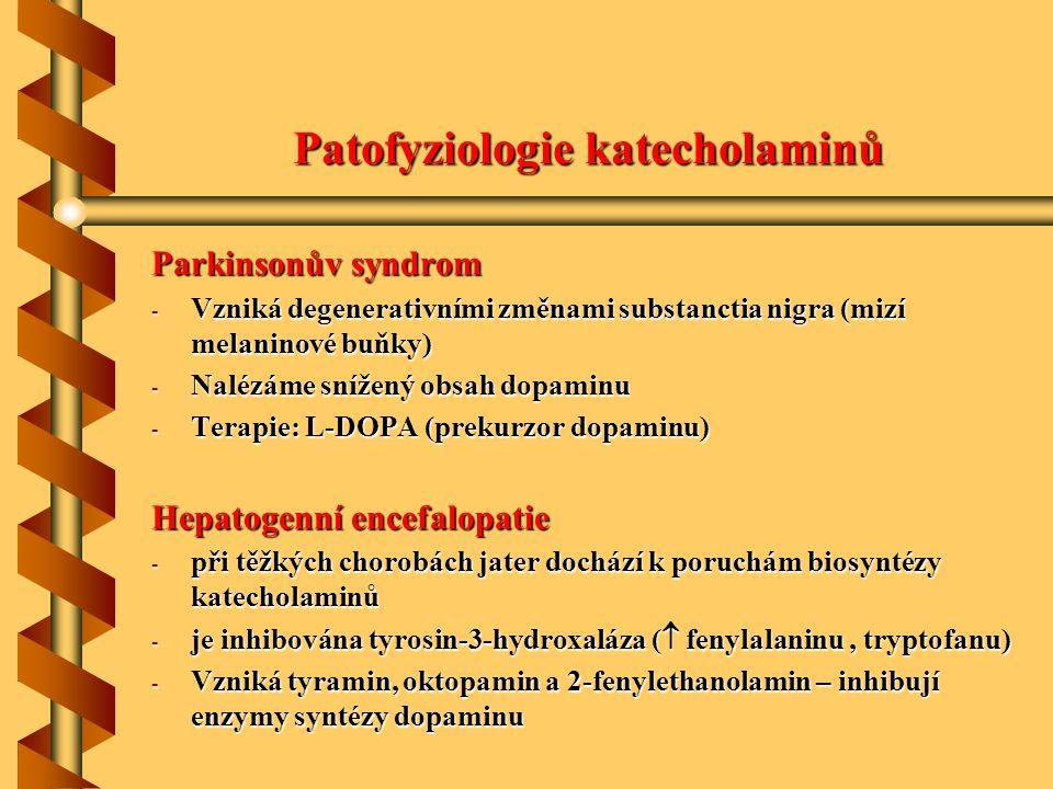 Patofyziologie katecholaminů Parkinsonův syndrom - Vzniká degenerativními změnami substanctia nigra (mizí melaninové buňky) - Nalézáme snížený obsah d