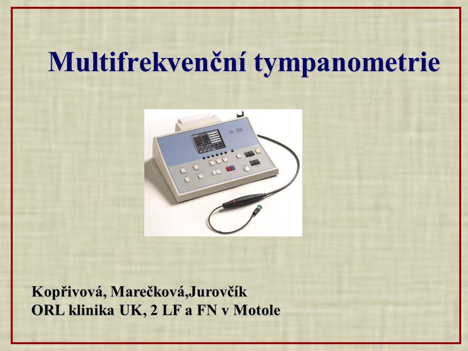 Multifrekvenční tympanometrie Kopřivová, Marečková,Jurovčík ORL klinika UK, 2 LF a FN v Motole ORL klinika UK, 2 LF a FN v Motole