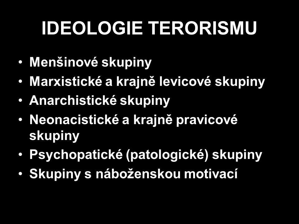IDEOLOGIE TERORISMU Menšinové skupiny Marxistické a krajně levicové skupiny Anarchistické skupiny Neonacistické a krajně pravicové skupiny Psychopatic