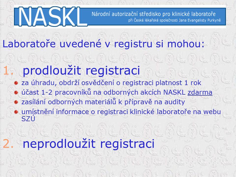 Laboratoře uvedené v registru si mohou: 1. prodloužit registraci za úhradu, obdrží osvědčení o registraci platnost 1 rok účast 1-2 pracovníků na odbor
