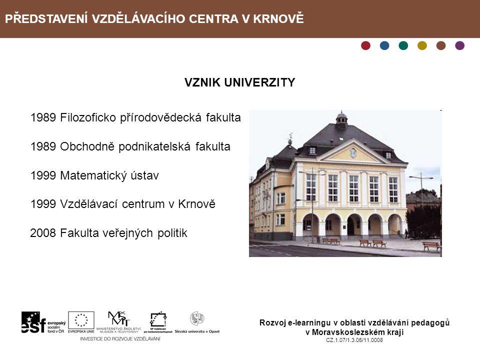 PŘEDSTAVENÍ VZDĚLÁVACÍHO CENTRA V KRNOVĚ Rozvoj e-learningu v oblasti vzdělávání pedagogů v Moravskoslezském kraji CZ.1.07/1.3.05/11.0008 VZNIK UNIVER