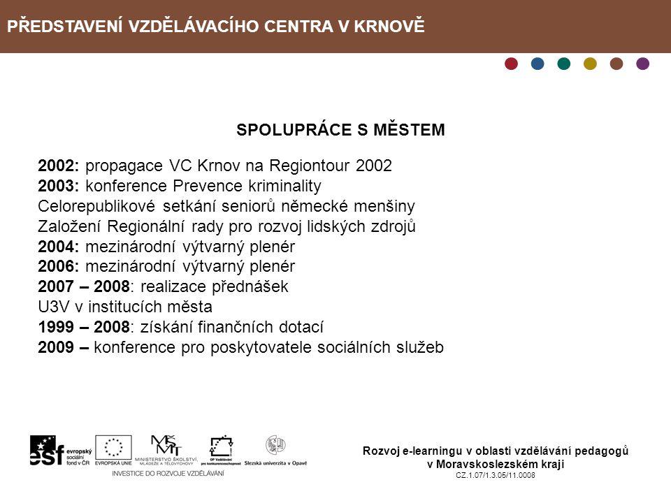 PŘEDSTAVENÍ VZDĚLÁVACÍHO CENTRA V KRNOVĚ Rozvoj e-learningu v oblasti vzdělávání pedagogů v Moravskoslezském kraji CZ.1.07/1.3.05/11.0008 SPOLUPRÁCE S