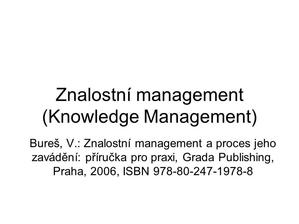 Znalostní management (Knowledge Management) Bureš, V.: Znalostní management a proces jeho zavádění: příručka pro praxi, Grada Publishing, Praha, 2006,