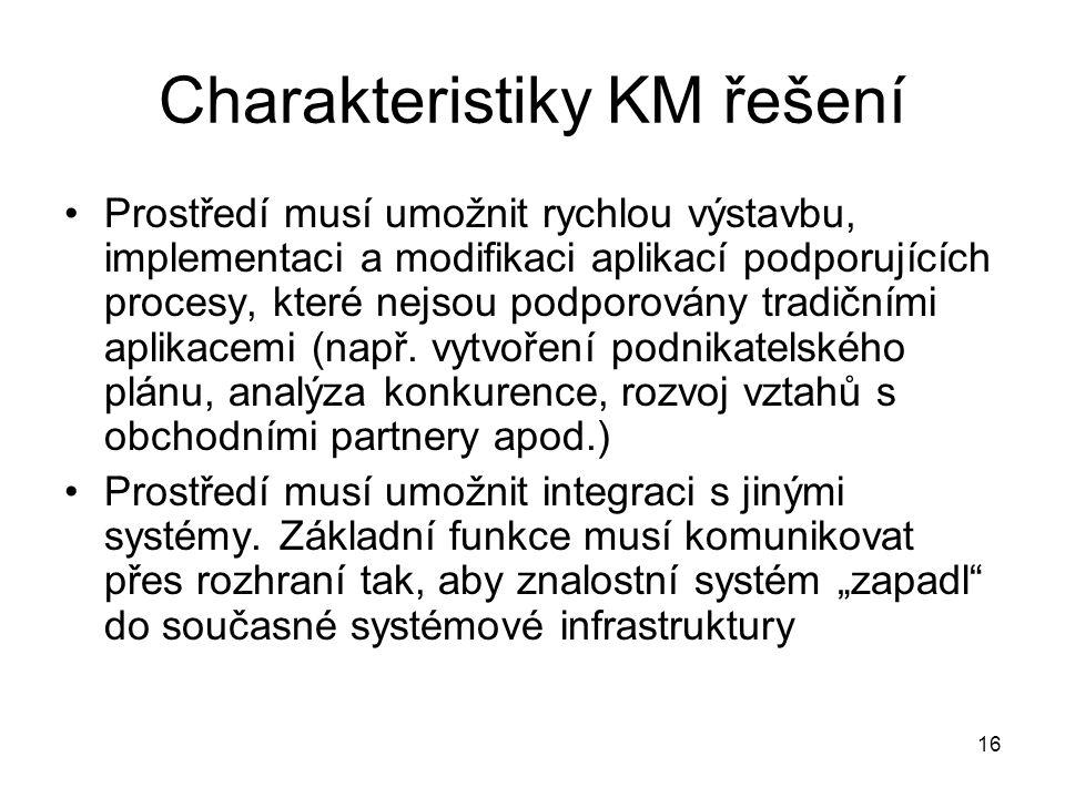 16 Charakteristiky KM řešení Prostředí musí umožnit rychlou výstavbu, implementaci a modifikaci aplikací podporujících procesy, které nejsou podporová
