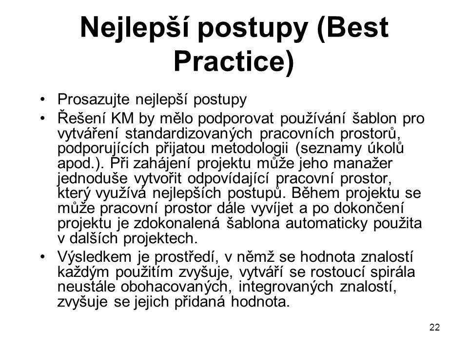 22 Nejlepší postupy (Best Practice) Prosazujte nejlepší postupy Řešení KM by mělo podporovat používání šablon pro vytváření standardizovaných pracovní
